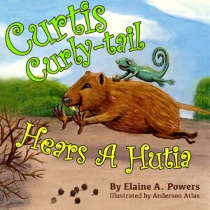 colorful children's book cover with a curly-tail lizard riding on the back of a hutia