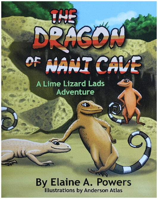 book cover illustration of two curly-tail lizards