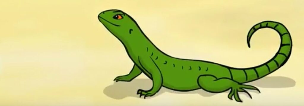 Illustration of a green curly-tail lizard on yellow beach