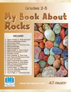 """book cover for workbook """"My Book About Rocks"""""""