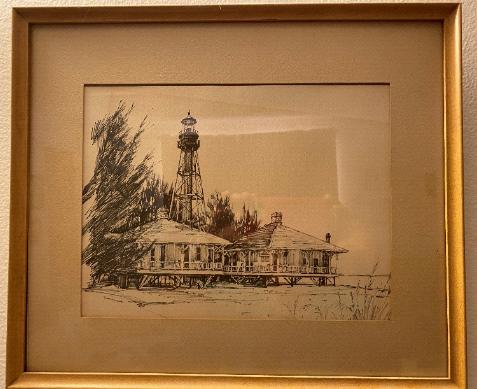 An illustration of the Sanibel Island Lighthouse